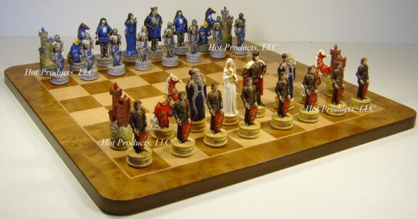 Medieval times king arthur chess set 17 burlwood board ebay - Medieval times chess set ...