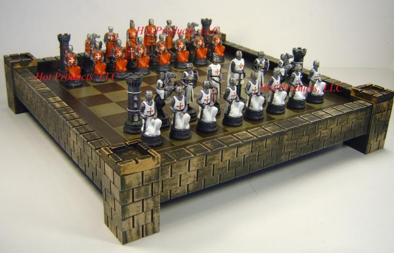 Medieval times crusades warrior red white chess set w castle board 17 ebay - Medieval times chess set ...