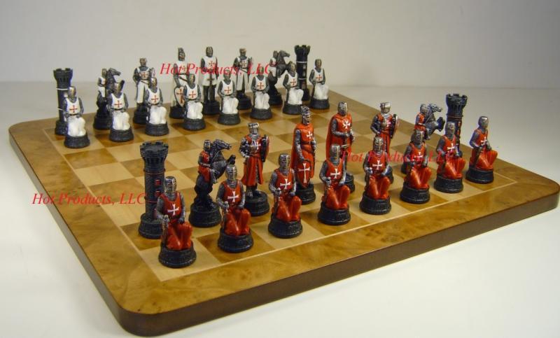 Medieval times crusade chess set 19 burlwood maple board crusades crusaders ebay - Medieval times chess set ...