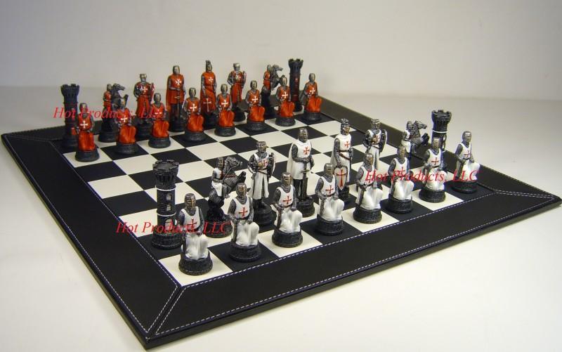 Medieval times crusades chess set w 18 black faux leather board crusade ebay - Medieval times chess set ...