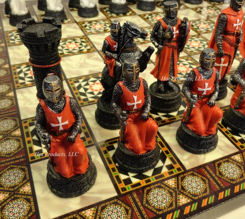 Medieval times warrior chess set red white w mosaic design board - Medieval times chess set ...