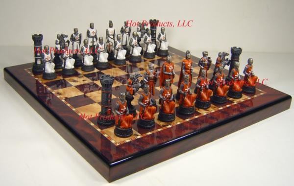Medieval times crusades chess set cherry burlwood finish board 15 crusade ebay - Medieval times chess set ...