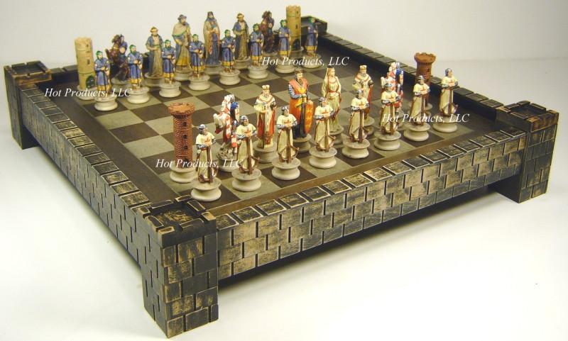Medieval times crusade chess set 17 castle fortress board crusades crusaders ebay - Medieval times chess set ...