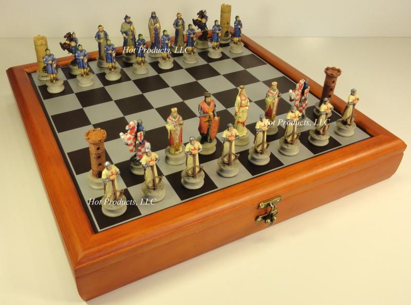 Medieval times crusades chess set w storage board 17 crusade crusaders ebay - Medieval times chess set ...
