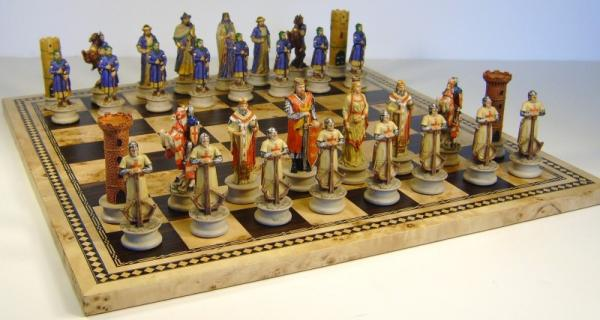 Medieval times crusades chess set 16 burl wood board ebay - Medieval times chess set ...
