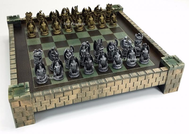 Gothic dragon fantasy medieval times chess set castle board 17 silver gold ebay - Medieval times chess set ...