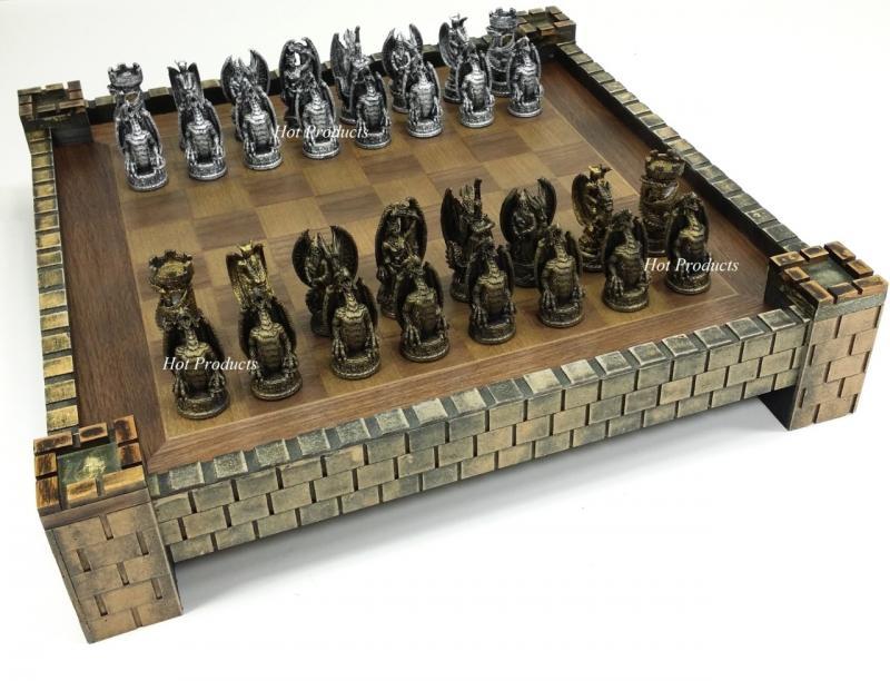 Gothic dragon fantasy medieval times chess set castle board 17 silver gold - Medieval times chess set ...