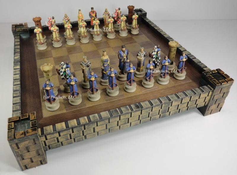 Medieval times crusades knight chess chess set castle board 17 crusade ebay - Medieval times chess set ...