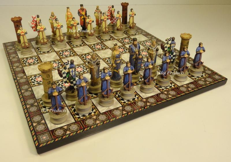 Medieval times crusades knights chess set w mosaic design board 14 knight ebay - Medieval times chess set ...