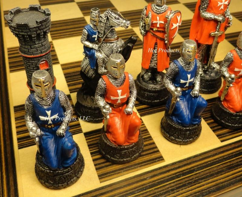 Medieval times crusades warrior red blue chess set ebony maple board 14 ebay - Medieval times chess set ...