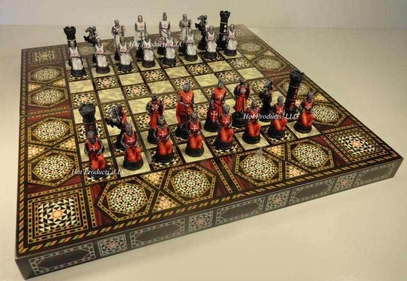 Medieval times crusades warrior chess set 20 mosaic design backgammon board - Medieval times chess set ...
