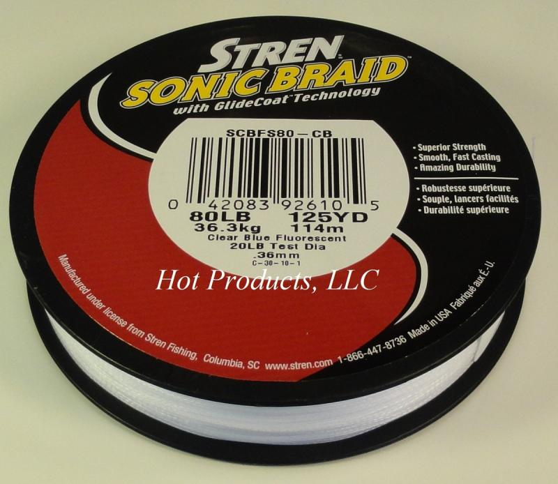 500yds 80lb stren sonic braid clear blue flouresent 80 lb for 80 lb braided fishing line