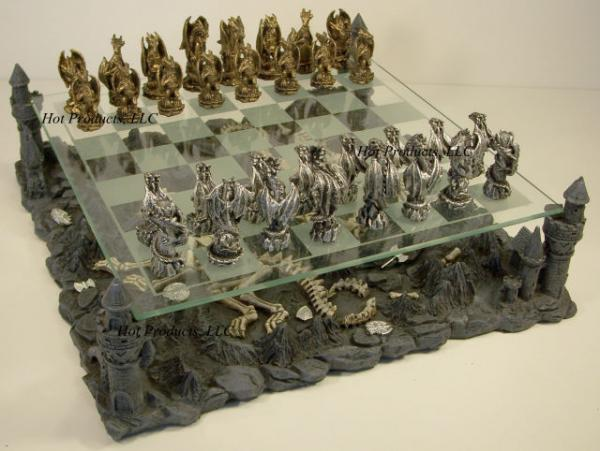 Metal Dragon Pewter Gothic Chess Set Glass Board