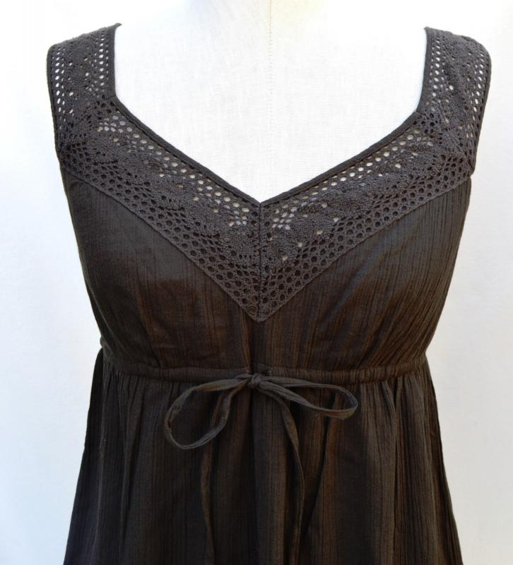 44b84d29717 ... LOFT Brown Crinkled cotton crochet straps Dress Sz S. Click here to  Enlarge Click here to Enlarge Click here to Enlarge ...