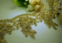 """25mm 1/"""" /'Roses/' Metalic Gold Venise Lace Trim by the yard"""