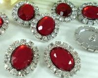 Xmas N089 6 Clear//Red Rhinestone Oval Silver Sewing Buttons
