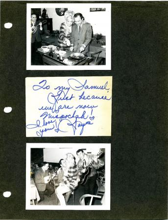 Jayne Mansfield and Sam Brody http://www.ebay.com/itm/RARE-JAYNE-MANSFIELD-1966-LOVE-NOTE-TO-SAM-BRODY-SIGNED-2-CANDID-PHOTOGRAPHS-/370806266872