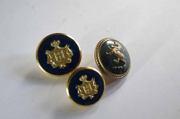 John Round Gold Logo and Crest w// Navy Enamel Inset Shank Button 173 St