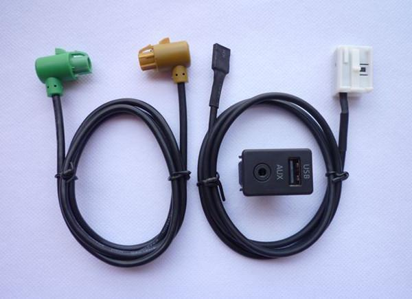 Usb aux switch socket wire harness cable adapter for bmw