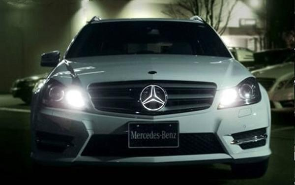 White led illuminated star kit light up center grille for Mercedes benz glowing star