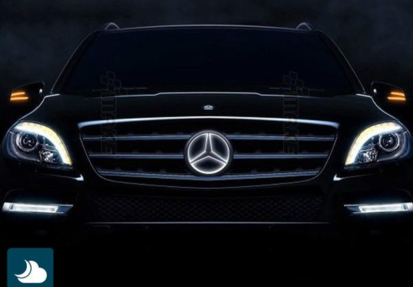 White led illuminated star kit light up center grille for Mercedes benz led star