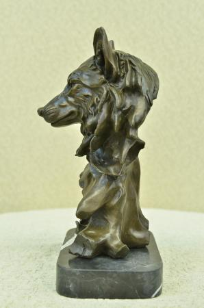 Art Deco Marble Bronze Sculpture Statue Wolf Head Bust