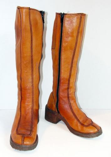Vintage Womens 1960s 1970s Tall Brown Leather Campus Knee High Boots 8 M