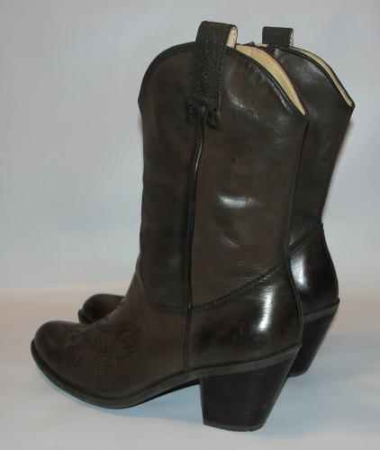 womens brown leather guess cowboy western boots shoes