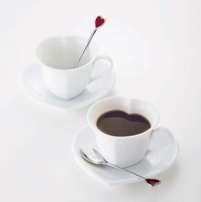 Japanese Heart Shaped Tea Cup Saucers Pair Set Made In
