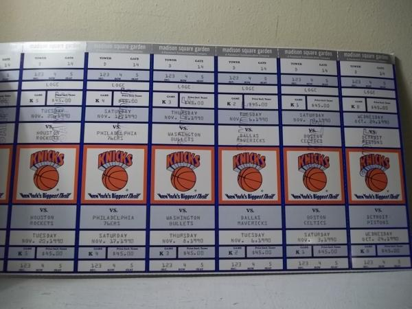 Ny Knicks Nba 1990 91 Season Ticket Book Sample Ticket