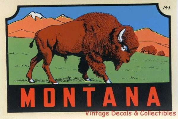 Vintage travel decal montana state buffalo bison souvenir for Bison motors great falls mt