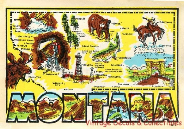 VINTAGE MONTANA STATE GRAPHIC MAP SOUVENIR TRAVEL DECAL WATER – Montana Travel Map