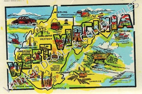 VINTAGE WEST VIRGINIA STATE SOUVENIR GRAPHIC MAP TRAVEL DECAL – Virginia Travel Map