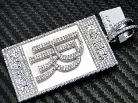 Rolls royce pendant 925 sterling silver white gold finish pic aloadofball Choice Image