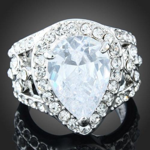 Clear Pear Gem Wedding Engagement Ring Swarovski Crystal
