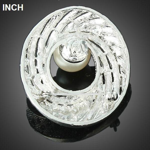 Ladies Circle Shape Multi Rhinestone Central Pearl Brooch Pin