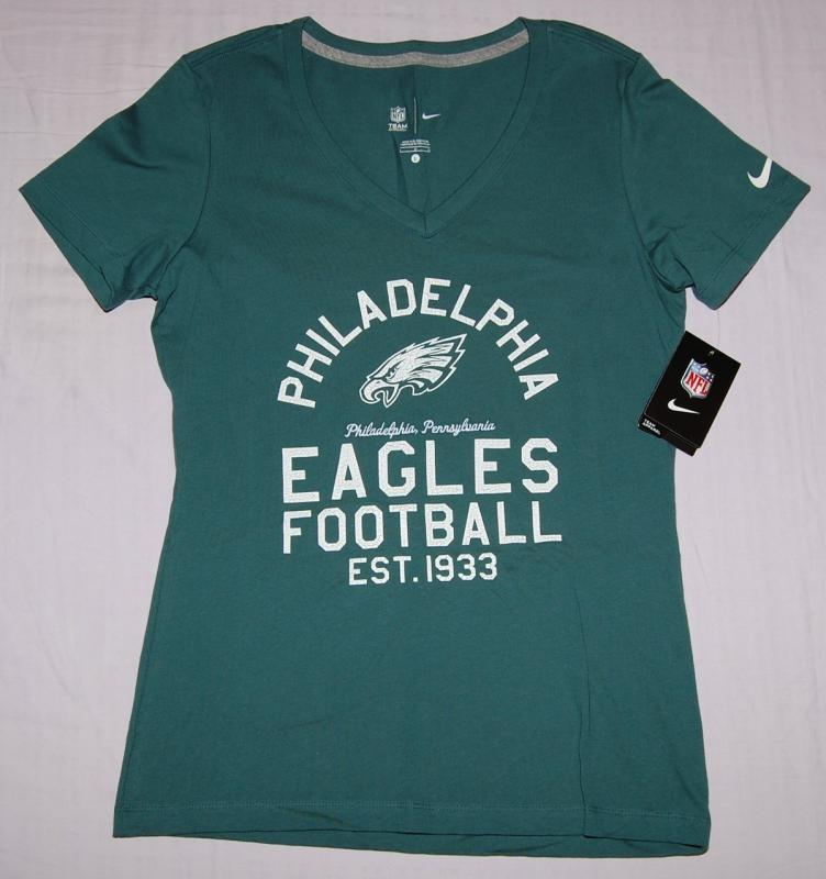 Philadelphia eagles womens nike team established v neck t for Eagles t shirt womens
