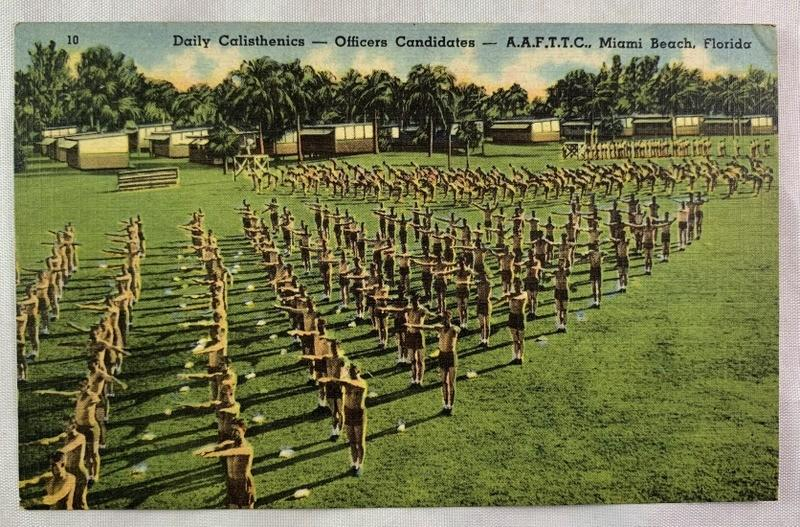 Details about WWII Era Postcard AAFTTC Miami Beach Florida Daily  Calisthenics Training Linen