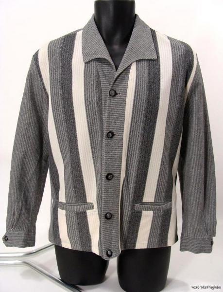 50s 60s mens GRAY STRIPED WINDBREAKER Shirt Jac Jacket rockabilly M L
