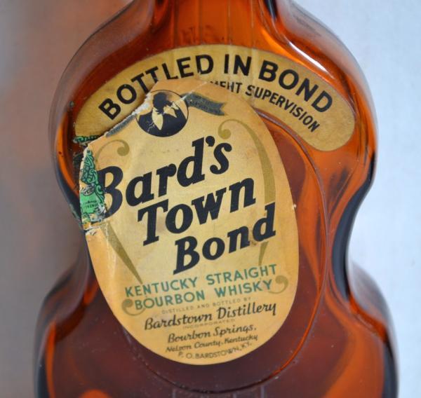 Vintage BARD's TOWN BOND Guitar BOTTLE Kentucky Straight