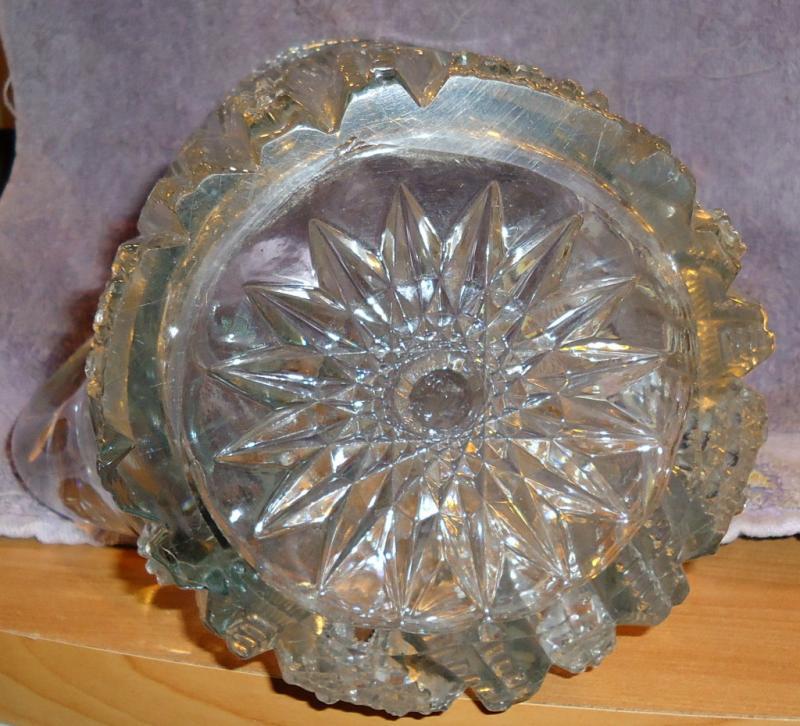 Vintage Pressed Glass Water Pitcher Elaborately Etched Starbursts