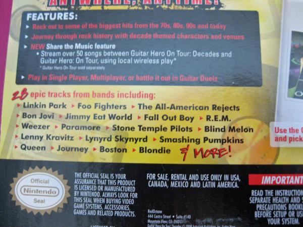 Details about Nintendo DS Guitar Hero Game On Tour NEW Decades Music Grip  Skin Pick Songs NIB