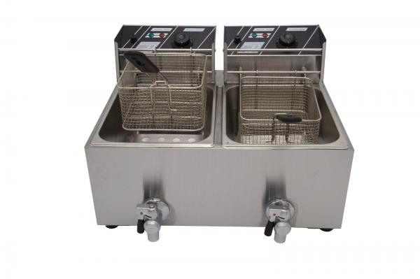 New Hot Sale Double Tank 24L Electric Commercial Fryer 5.6KW With Lid/Drain  Taps | eBay