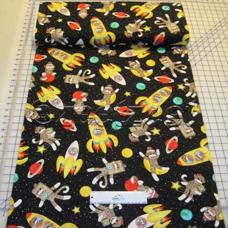 Sock monkeys in space black quilt fabric by the yard for Space fabric by the yard