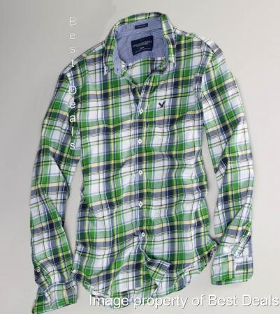 American eagle ae mens athletic fit blue plaid shirt new for Blue and green tartan shirt