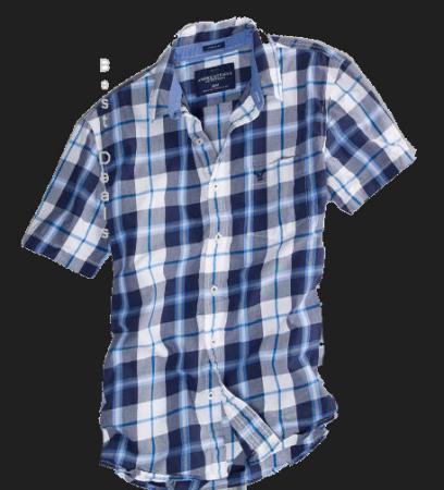 American eagle ae mens plaid short sleeve shirt blue new for Navy blue plaid shirt