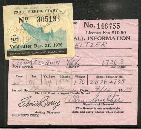 Maryland 1970 trout stamp on maryland fishing for Md fishing license