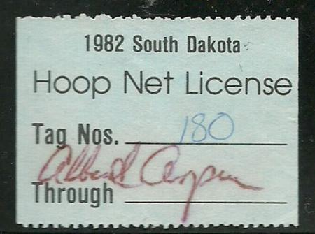 South dakota 1982 hoop net fishing license stamp vf used for Sd fishing license