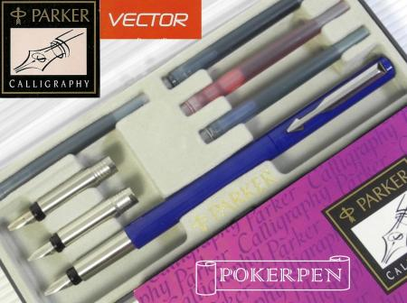 Parker Vector Calligraphy Pen Set Blue 5 Cartridges Ebay
