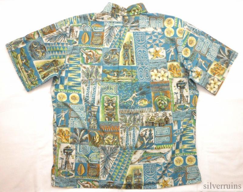Reyn spooner hawaiian shirt aloha camp tiki tribal native for Fish hawaiian shirt